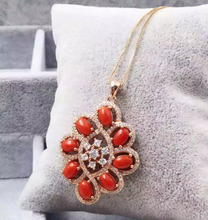 natural red precious coral pendant S925 silver Natural gemstone Pendant Necklace trendy Luxury round string women fine jewelry
