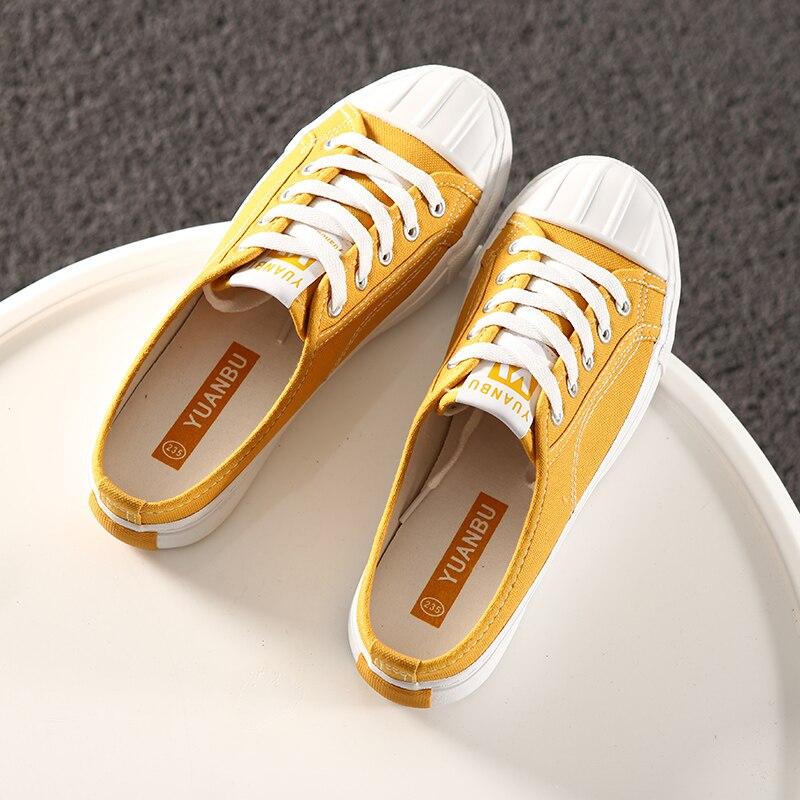 Couleur Spécial 35 Sur Jaune Nouvelles Noir Femmes rouge 2017 jaune Solide Slip blanc Talon Taille Conception Chaussures 39 Plat Toile Glisser Blanc Casual TATznWvg6