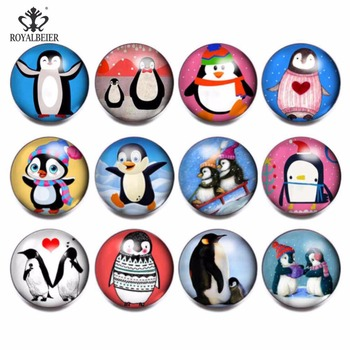 RoyalBeier 12pcslot Cute Mixed Penguin Theme 18mm Glass Snap Button Jewelry Charms Fit DIY Bracelet Necklace Snaps Jewelry