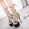 Sexy Cut-outs Ankle Strap Women Sandals Fashion 2017 New Casual Open Toe Thin High Heeled Platform Sandals Female Summer Shoes