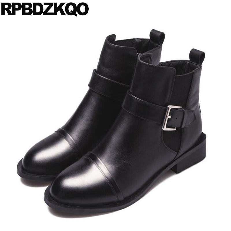 Shoes Fur Flat Booties Fall Metal Women Brand Winter Boots Genuine Leather Luxury Round Toe Black Chelsea Slip On Ankle New farvarwo formal retro buckle chelsea boots mens genuine leather flat round toe ankle slip on boot black kanye west winter shoes
