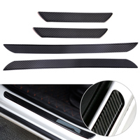 beler 4pcs Black Carbon Fiber Door Step Sill Anti Scratch Cover Car Styling Decorations Scuff Plates Protect Trim Guard