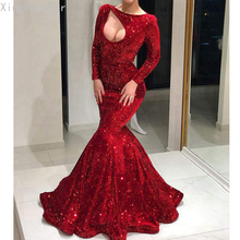 цена на XingPuLanEr New Arrival Long Evening Dress Sexy Mermaid Long Sleeve Cut Out Elegant Women Red Formal Evening Party Gowns