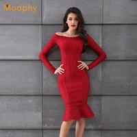 2018 High Fashion Autumn Bandage Dress Red Women Slash Neck Long Sleeve Fishtail Dresses Celebrity Party Dress Vestidos HL651
