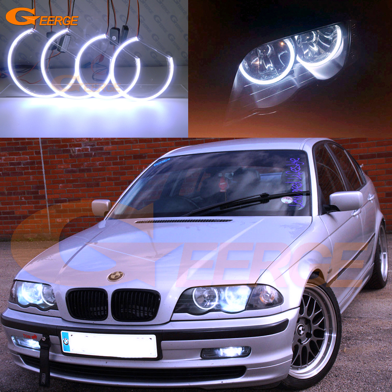 For BMW 3 Series E46 Pre-facelift 1998 1999 2000 2001 Excellent Ultra bright illumination COB led angel eyes kit halo rings epman universal black 3 76mm polished aluminum fmic intercooler piping kit diy pipe length 600mm for bmw e46 ep lgtj76 600