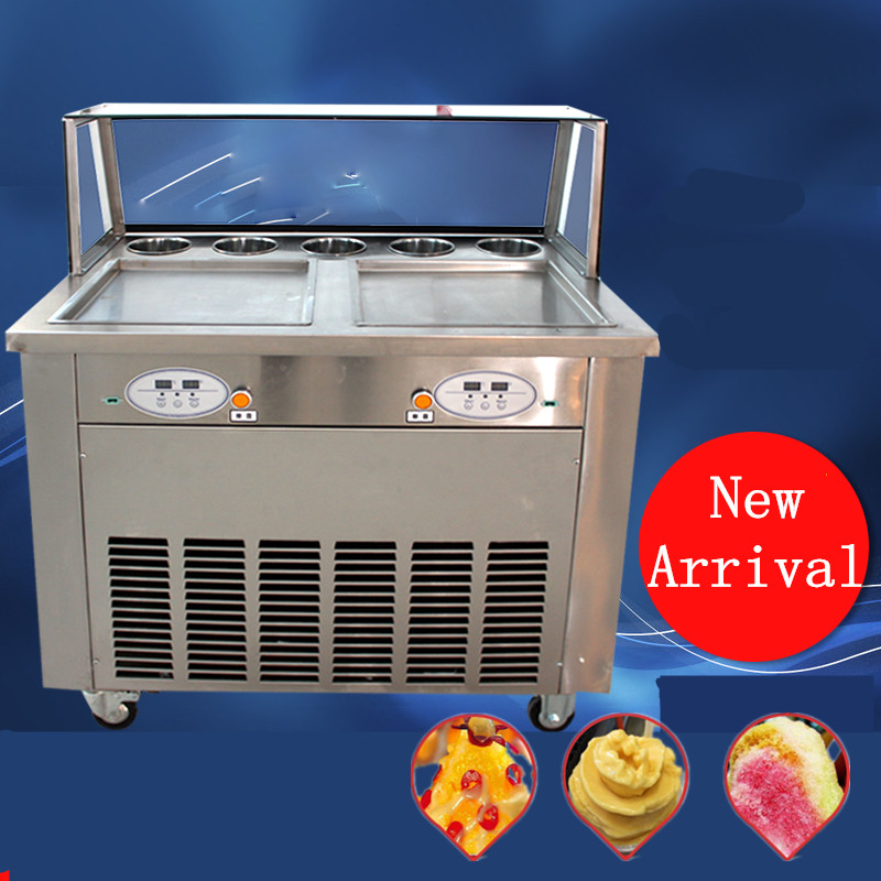 2016 New  Intelligent  Fry ice machine Double pan  double compressor,fried ice cream roll machine,  without Glass mask single pan double compressor fried ice cream machine stainless steel fried ice cream roll machine intelligent fried ice machine