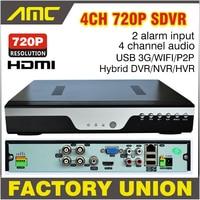Upgrade 720P Realtime Recording CCTV 4CH AHD H.264 DVR 4 Channel Hybrid HVR NVR DVR Recorder Analog + IP Camera 3G WIFI Alarm