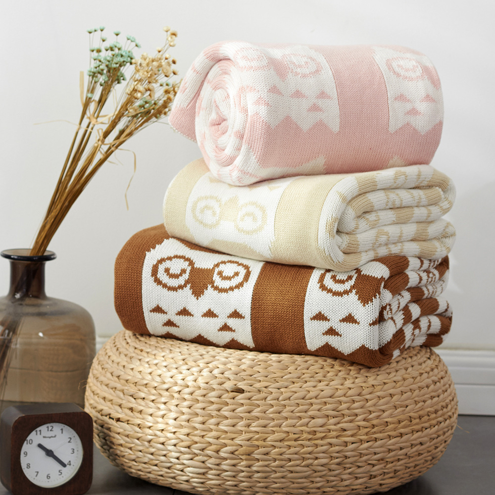 Owl Baby Blanket For Newborn Soft Kid Swaddling Wrap Bedding Blankets Knitted Children Stroller Couverture Cover Office Shawl