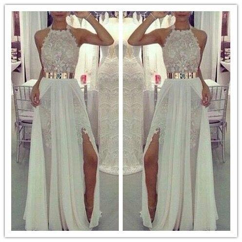 Vestido De Festa 2018 backless A-Line Halter Sleeveless Backless Floor-length Chiffon Lace Formal prom Gown bridesmaid dresses