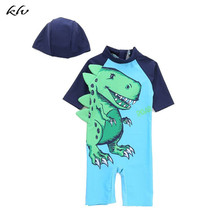 Anti-UV Swimsuit With Dinosaur Printed Green Swimming Cap Short Sleeve Quick Dry Children Baby Boys Jumpsuit Diving Jersey