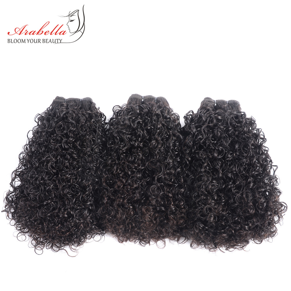 Curly Hair Weave Bundles 3 Pieces 100% Human Hair Extension Natural Color Arabella Remy Hair Bundles-in 3/4 Bundles from Hair Extensions & Wigs