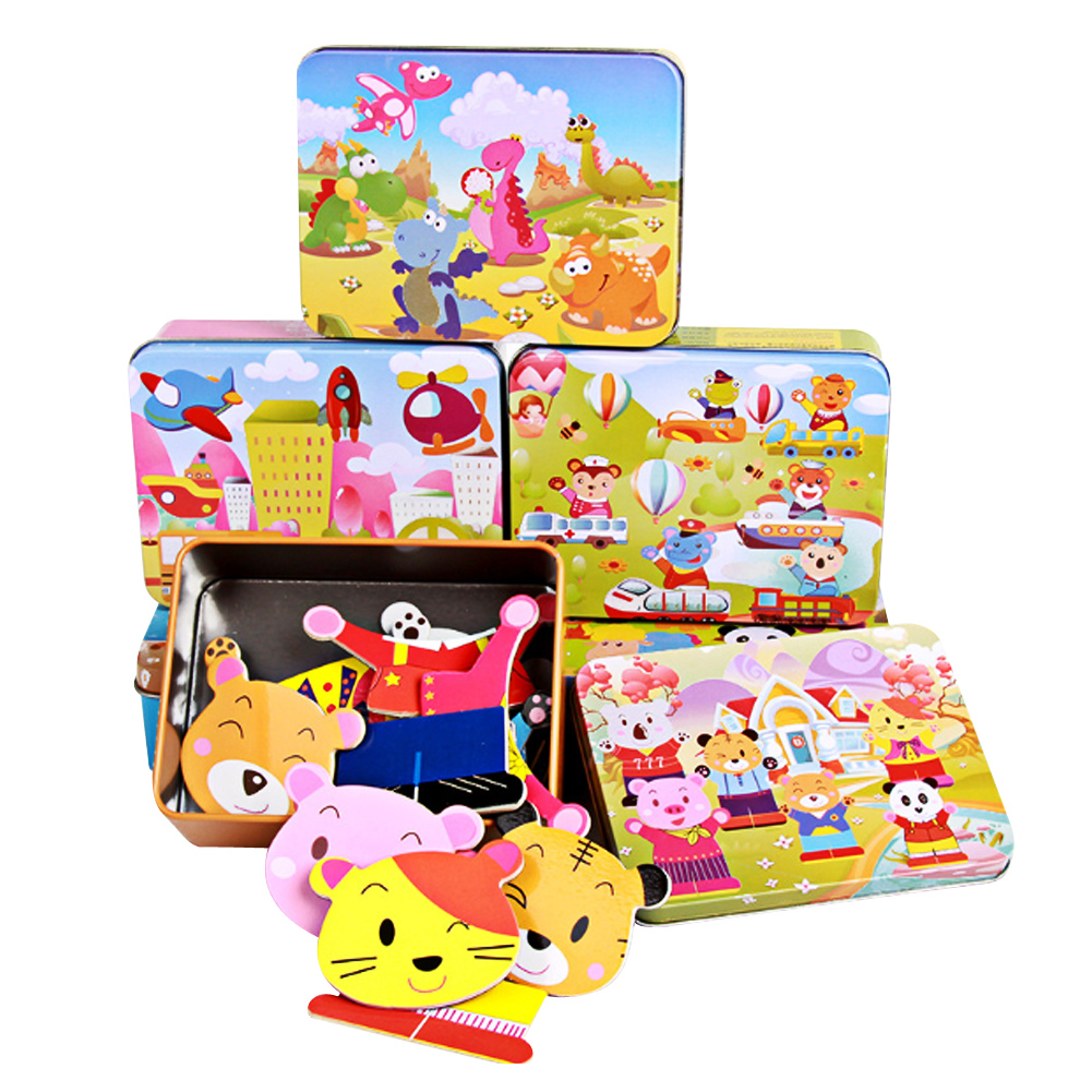Wooden Puzzle Cartoon Toy 3D Wood Puzzle Iron Box Package Jigsaw Puzzle for Child Educational Cute Bear Wooden Toys mother garden high quality wood toy wind story green tea wooden kitchen toys set