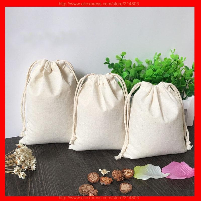 (100pcs/lot) 20 Sizes Available Wholesale Blank Plain String Cotton Bag Natural