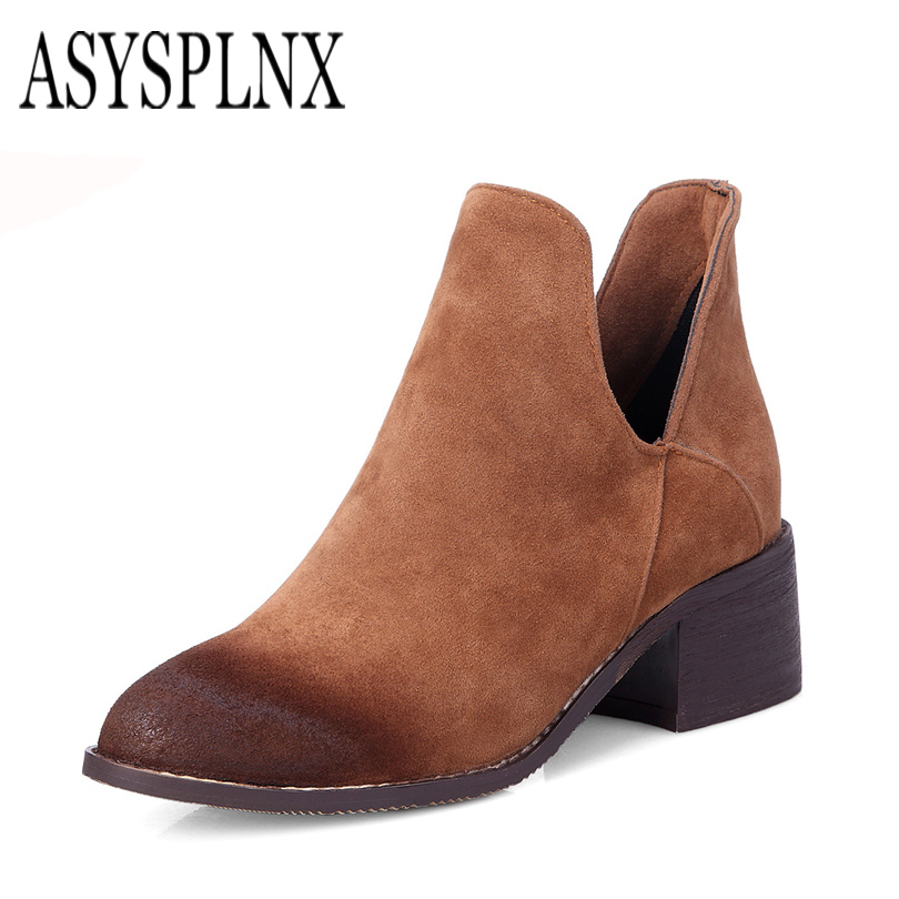 nubuck PU leather black brown gray round toe women ankle boots,Autumn square heel ladies shoes Simple elegant fashion leisure цены онлайн
