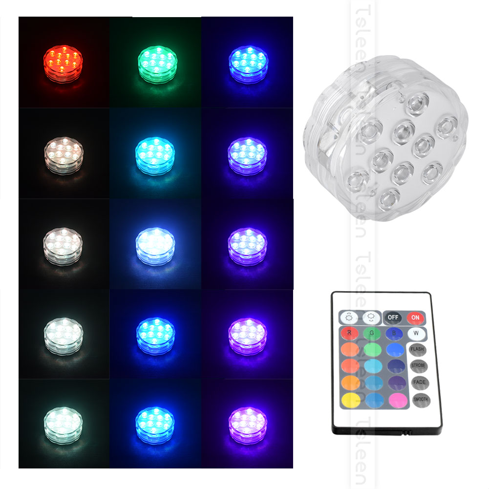 Wireless Remote Control LED Pond Water Light Night Light Flower Shape Waterproof Swimming Pool Decoration Lamp RGB 10 LED