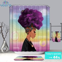 VOZRO Bathroom Waterproof Polyester Cloth Nature Of African Women Girl Simple Shower Curtain Eu Splatoon Portrait Douchegordijn
