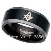E&C JEWELRY Free Shipping! Wholesales Price!USA Hot Selling Black Tungsten Carbide Freemason Masonic Master Men's Wedding Ring