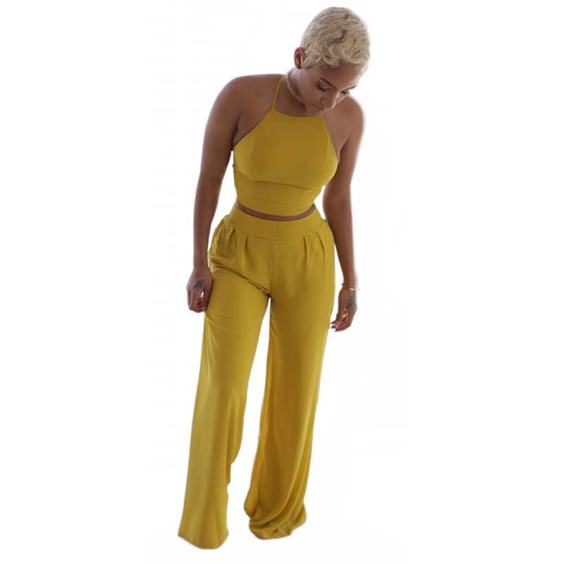 Women Two Piece Outfits Set Sexy Tracksuit Yellow Casual Ensemble Femme Bandage Crop Top Wide ...