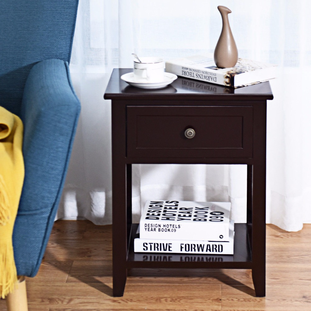 Giantex Nightstand End Bedside Table Drawer Storage Room Decor Bottom Shelf Home Furniture HW56019CF цена и фото