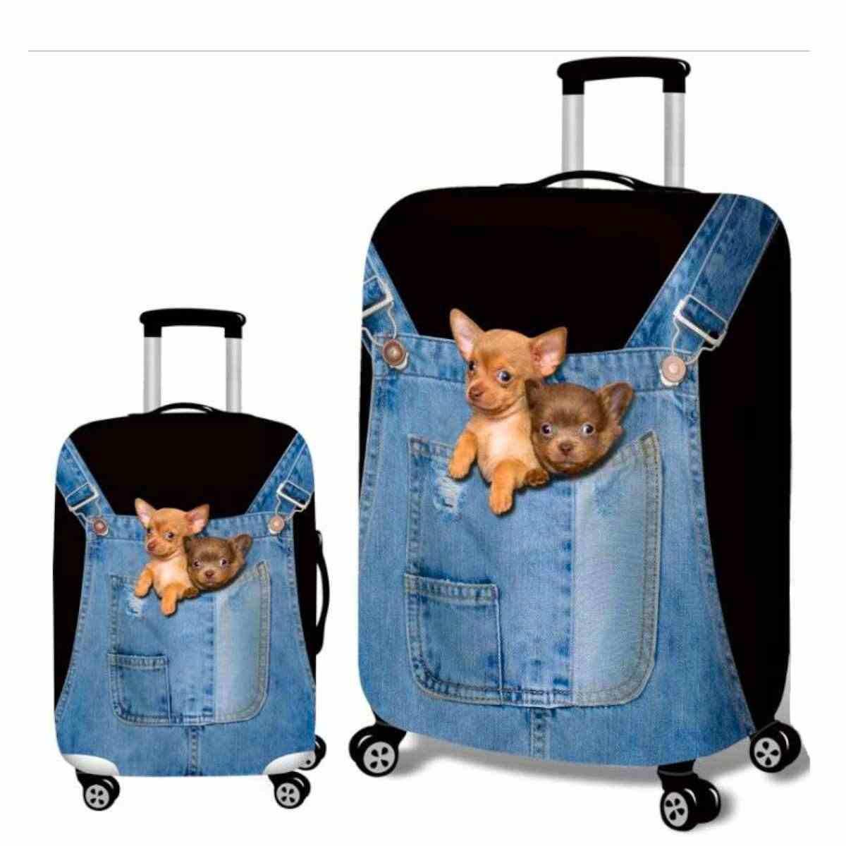 3D Denim น่ารักแมว/สุนัขป้องกันกระเป๋าเดินทาง 18-32 นิ้วกระเป๋าเดินทางกรณีครอบคลุมอุปกรณ์เสริม