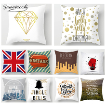 Fuwatacchi Home Wedding Decoration Cushion Cover Letter Cross Gold  Print Pillow Sofa Chair Decorative Case