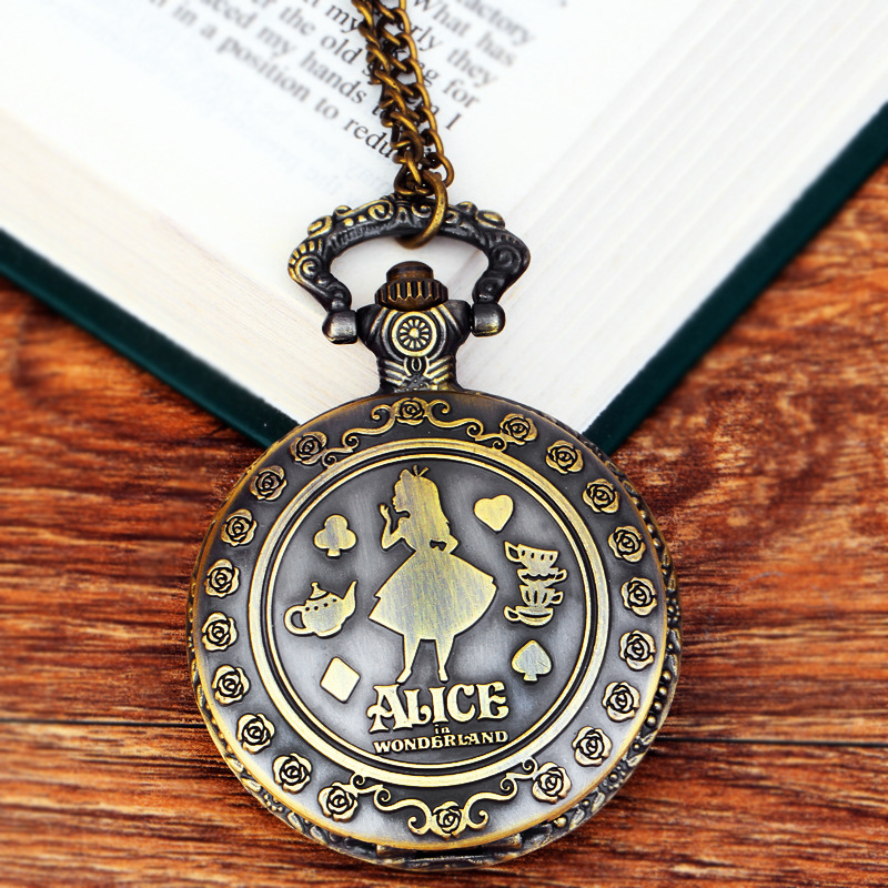 2019 New Retro Alice In Wonderland Theme Bronze Quartz Pocket Watches Vintage Fob Watches Grandpa Gift(China)