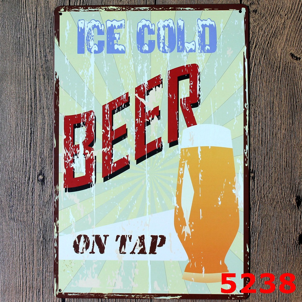 New Ice cold beer Wall Art Wall Poster 20*30CM Metal Tin Sign Coffee Pub Club Gallery Poster <font><b>tips</b></font> Vintage Plaque <font><b>Decor</b></font> Plate