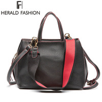 Herald Fashion 2017 Brand Designer Women Handbags Wide Shoulder Strap Shoulder Bag Casual Solid Women Tote
