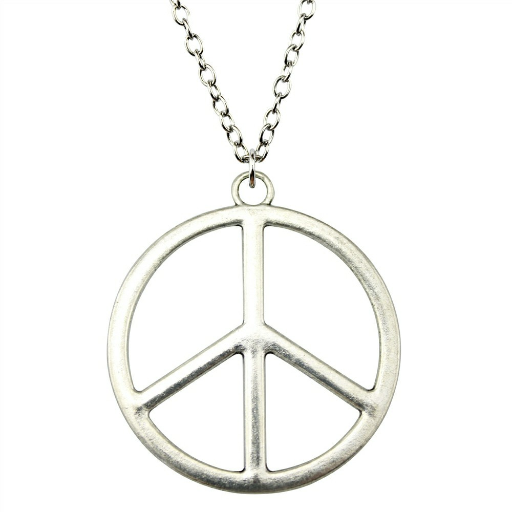 WYSIWYG 2 Colors 42mm Peace Sign Pendant Necklace, Peace Symbol Necklace, Silver Peace Necklace Jewelry