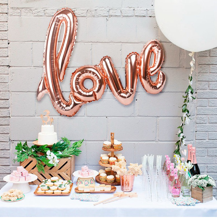 108X46cm Rose Gold LOVE Letter Foil Balloon Anniversary Wedding Valentines Birthday Party Decoration Romantic Day