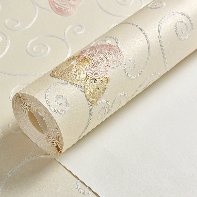 3D Cartoon Bear Environmental Protection Non-Woven Wallpaper For Kids Room Children Room Bedroom Wall Decoration Wall Paper Roll