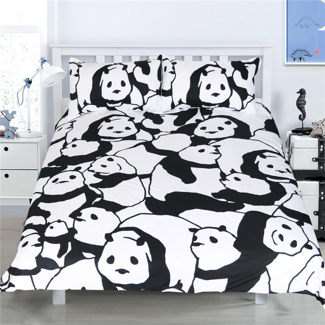 CAMMITEVER Panda Bedding Set Duvet Cover With Pillowcases Animal Home Textiles 3pcs Bedclothes