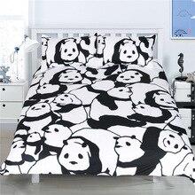 CAMMITEVER Panda pościel zestaw kołdra pokrywa z poszewki na poduszki zwierząt tekstylia domowe 3 sztuk pościel