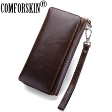 COMFORSKIN Brand Guaranteed 100% Genuine Leather Men Wallets Multi-function Clutch Wallet With Hand Rope Carteira Masculina