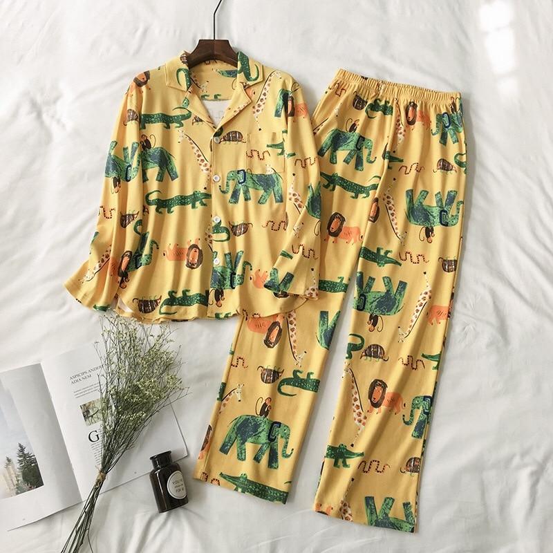 New Women Pajamas Sets 100% Cotton Nightwear Spring Autumn Long Sleeve PyjamasTurn-down Collar Sleepwear Female Pijamas Elephant