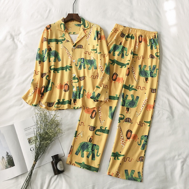 New Women   Pajamas     Sets   100% Cotton Nightwear Spring Autumn Long Sleeve PyjamasTurn-down Collar Sleepwear Female Pijamas Elephant