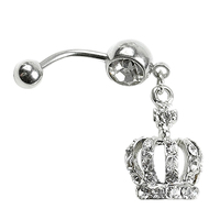 24 Pieces Set Hot Chic Navel Belly Button Ring Crown Rhinestone Crystal Piercing Body Jewelry