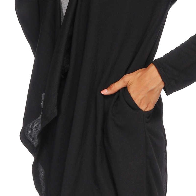 Pgsd 가을 겨울 여성 의류 블랙 간단한 긴 소매 불규칙한 니트 스웨터 포켓 후드 중간 긴 카디건 여성