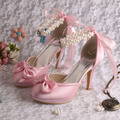 Wedopus MW130 Beading High Heel Platform Waterproof Wedding Shoes Pearl Sandal for Party Birthday