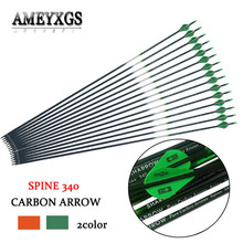 10pcs Spine 340 Pure Carbon Arrow With Rubber Feather For Outdoor Sports Hunting Shooting Training Accessories