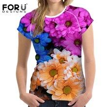 FORUDESIGNS Bright Tulipa Floral Design T-shirts for Women Summer Mum Fashion Tops Tees T shirt ladies Tshirts Vetement Femme