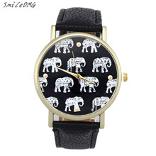 SmileOMG Hot Fashion Ladies Watch Girl Elephant Pattern Faux Leather Band Alloy Analog Quartz Dial Wristwatch Gift ,Aug 6