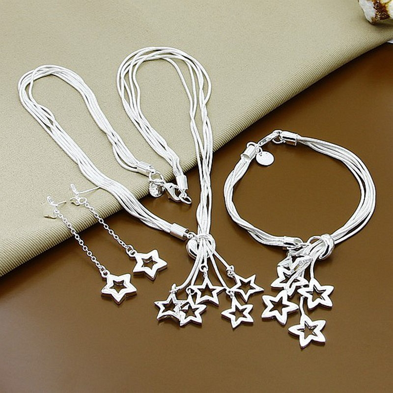 GNIMEGIL 925 Stamped Silver Color Jewelry Set Hollow Lucky Star Pendant Necklace+Bracelet+Earrings Sets for Women Party Wedding