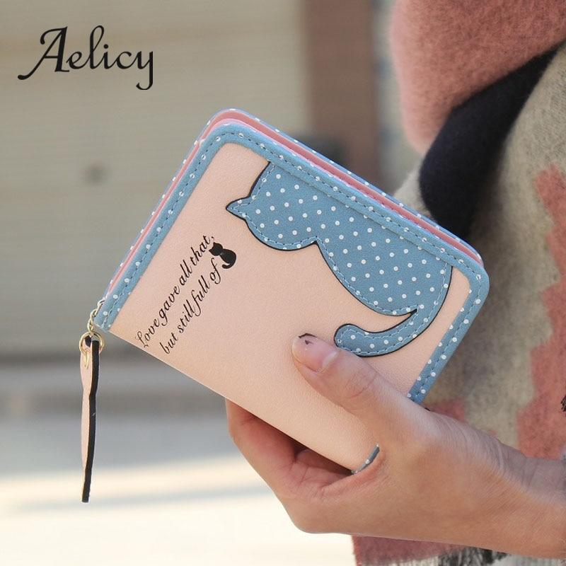 Aelicy Einfache Nette Frauen Kurzen Brieftasche Schöne Cartoon Leder Weibliche Kleine Geldbörse Haspe Zipper Geldbörse Karte Halter Für Girls0 üBereinstimmung In Farbe