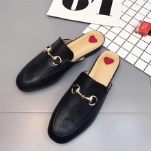 Women Mules Fur Slides Flat Heel Casual Loafer Shoes Fashion Chain Slides Autumn Slippers Furry Slipper Big Size