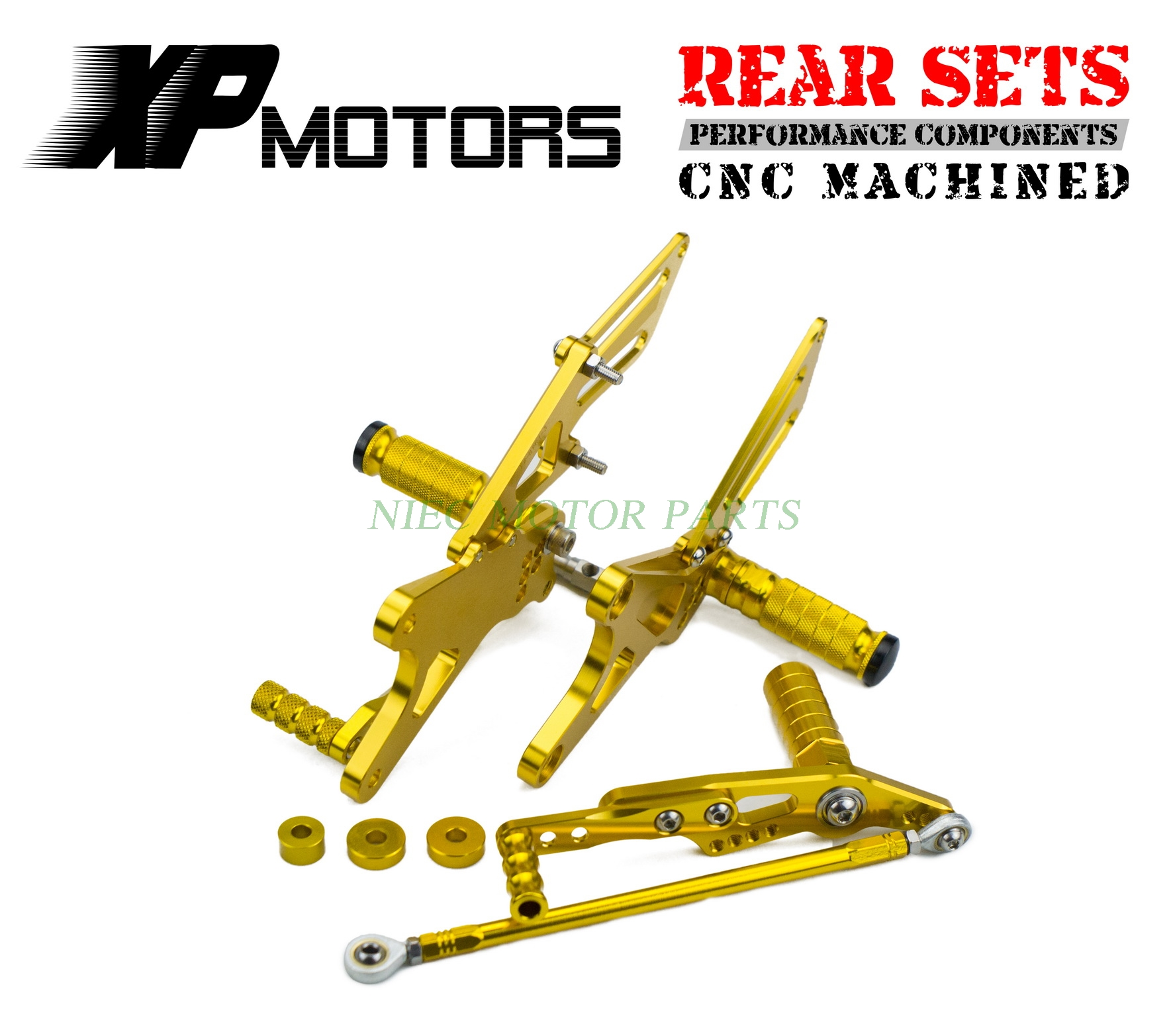 New Arrived CNC Gold Adjustable Foot pegs Rearset Footrests Rear Sets For Yamaha YZF R1 2009 2010 2011 2012 2013 2014