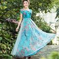 2017 nueva primavera y el verano dress plus size hermosa gasa de la impresión floral largo maxi dress bohemio organza