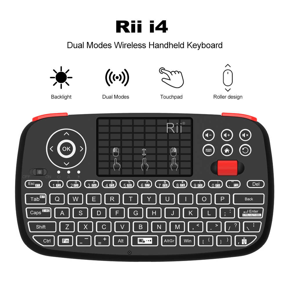 Rii i4 Mini Bluetooth Toetsenbord 2.4GHz Dual Modi Handheld Toets Backlit Muis Touchpad Afstandsbediening voor Windows Android