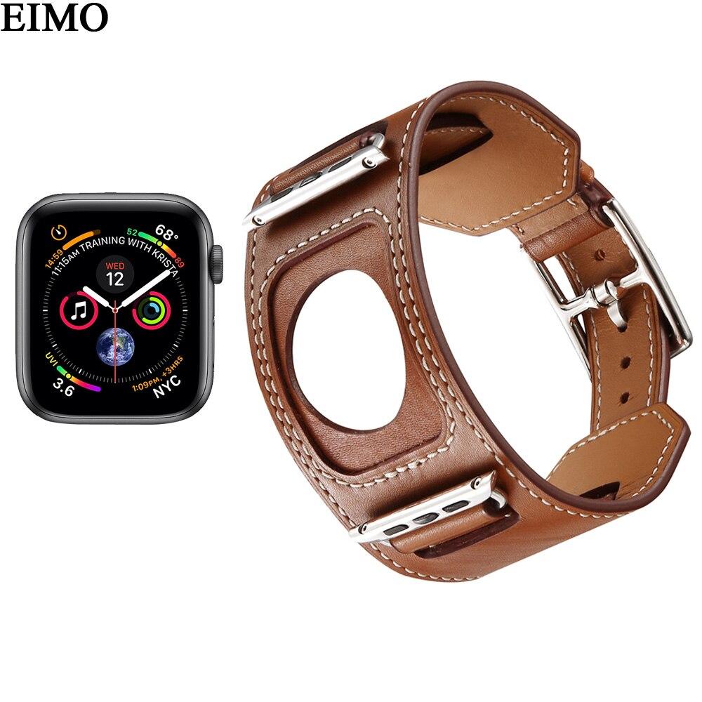 EIMO strap für apple watch hermes 4 44mm 40mm iwatch band 4 Echtem leder Manschette Armband Handgelenk armband metall klassische schnalle
