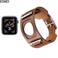 1b276a687237 Correa para apple watch hermes banda 4 44mm 40mm iwatch banda 4 cuero  genuino brazalete pulsera reloj de metal hebilla clásica